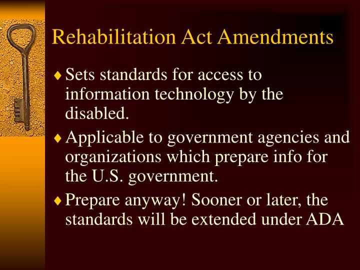 Rehabilitation Act Amendments