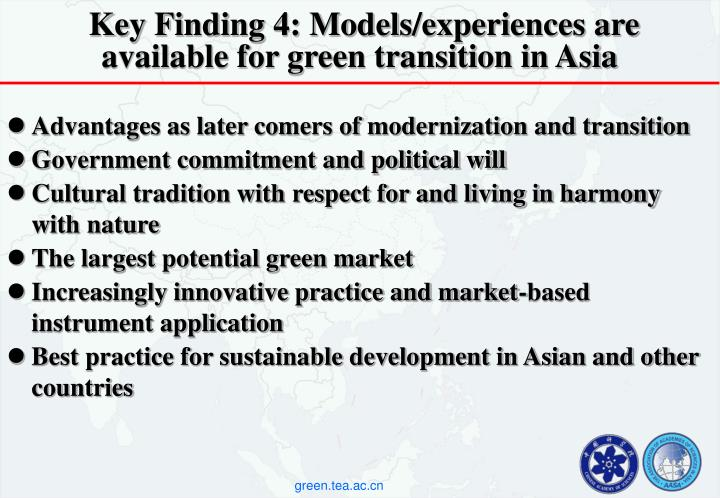 Key Finding 4: Models/experiences are available for green transition in Asia