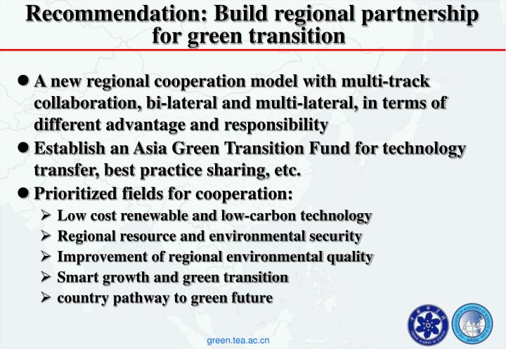 Recommendation: Build regional partnership for green transition