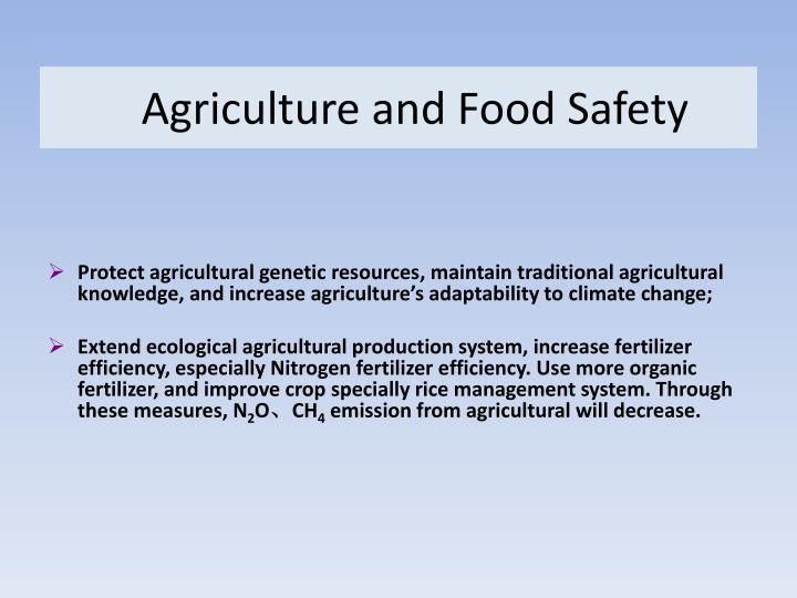 Agriculture and Food Safety