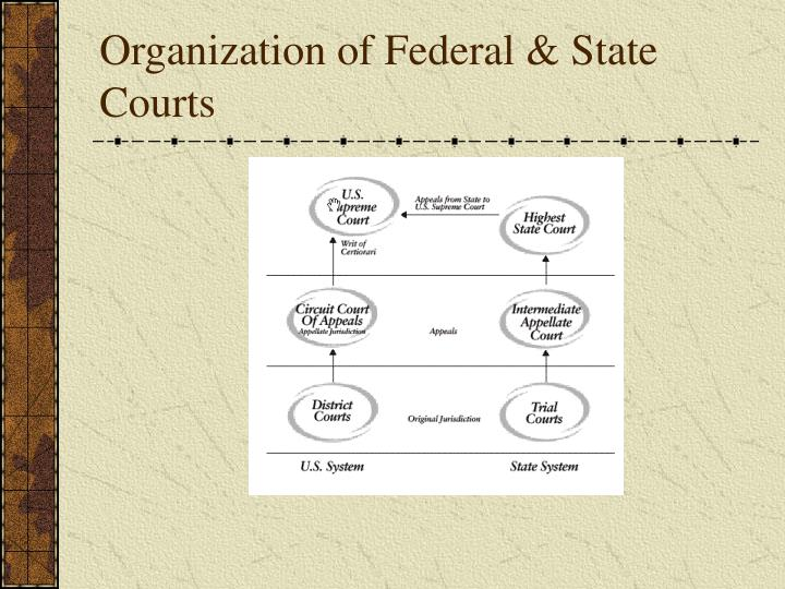 Organization of federal state courts