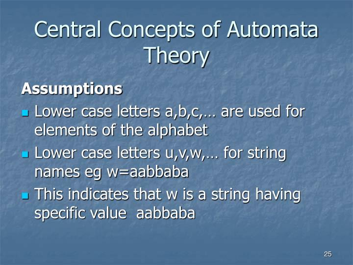 Central Concepts of Automata Theory