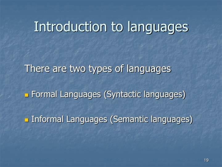 Introduction to languages