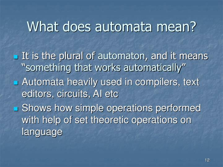 What does automata mean?