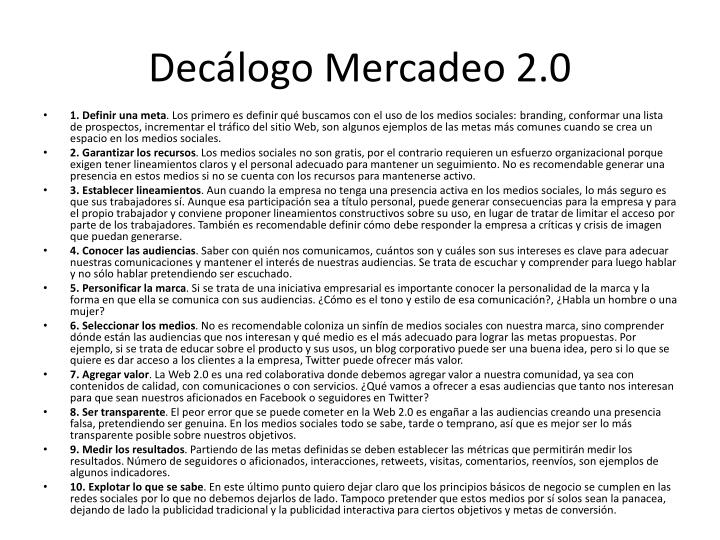 Decálogo Mercadeo 2.0