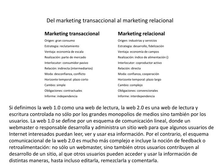 Del marketing transaccional al marketing relacional