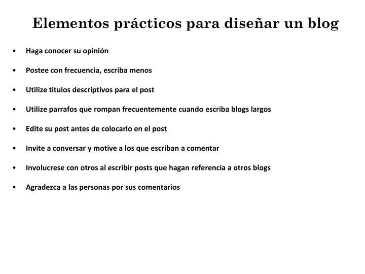 Elementos prácticos para diseñar un blog