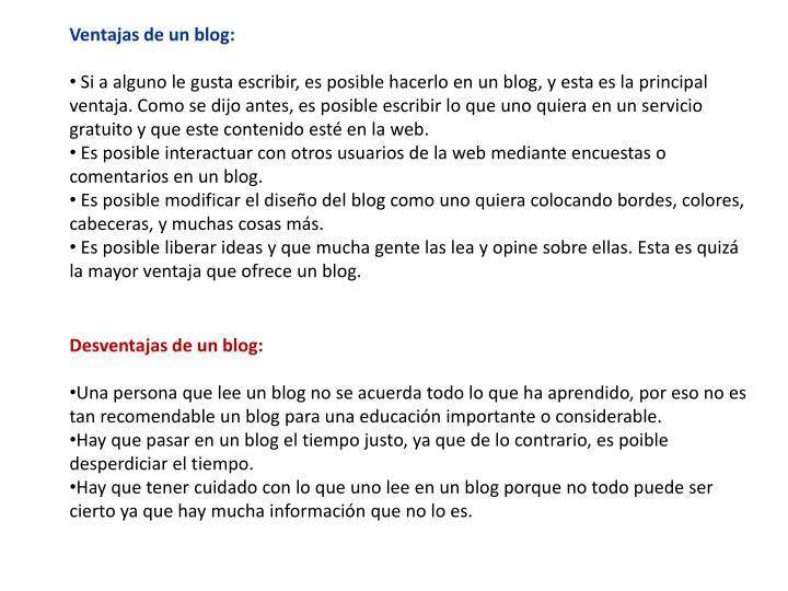 Ventajas de un blog: