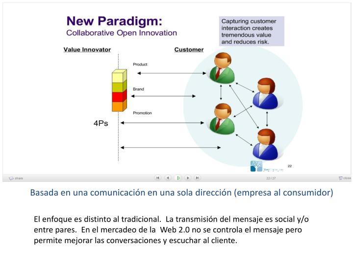 Basada en una comunicación en una sola dirección (empresa al consumidor)