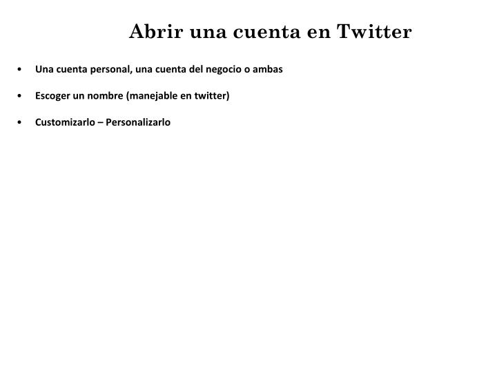 Abrir una cuenta en Twitter