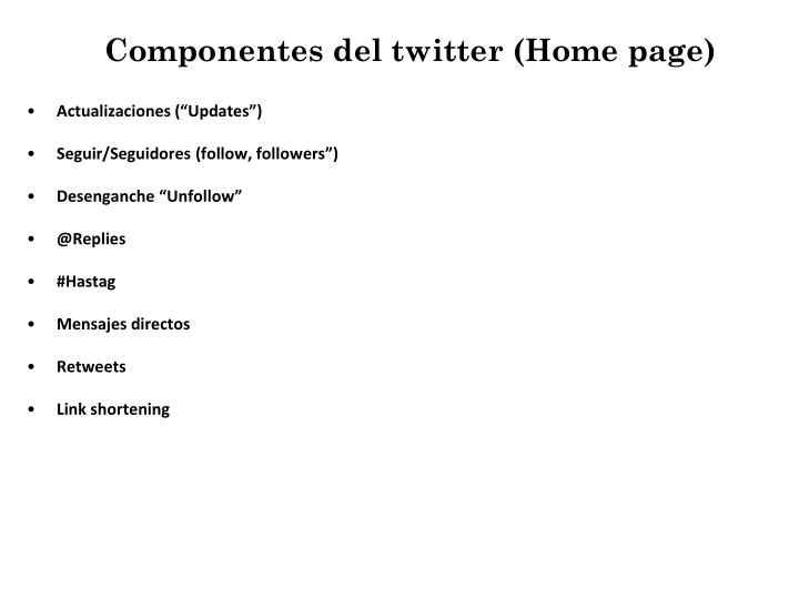 Componentes del twitter (Home page)