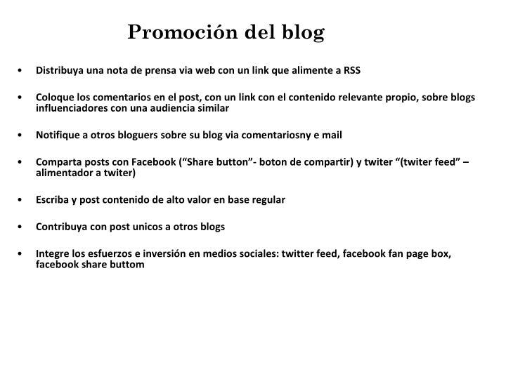 Promoción del blog