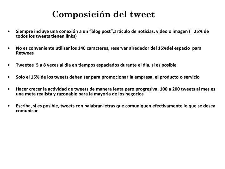 Composición del tweet