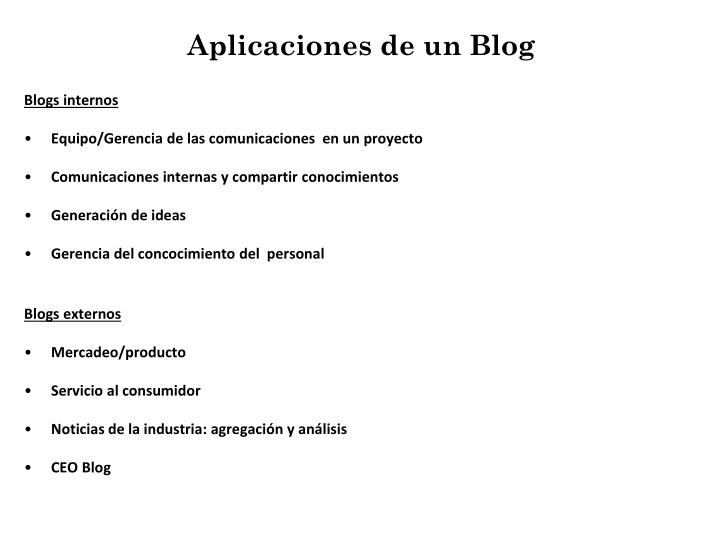 Aplicaciones de un Blog