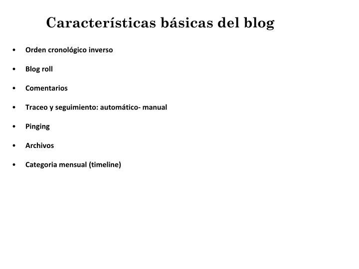 Características básicas del blog