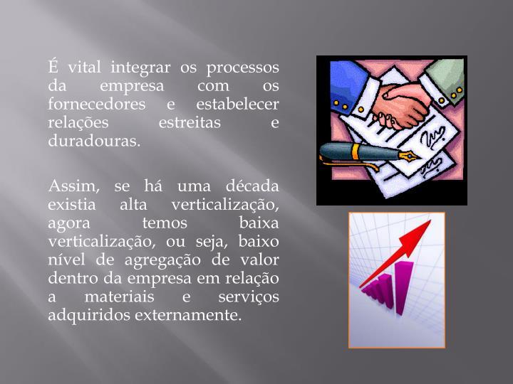 É vital integrar os processos da empresa com os fornecedores e estabelecer relações estreitas e duradouras.