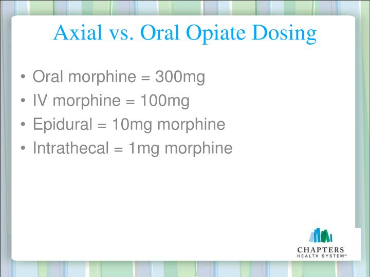 Axial vs. Oral Opiate Dosing