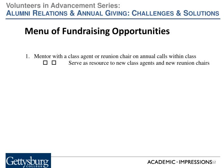 Menu of Fundraising Opportunities