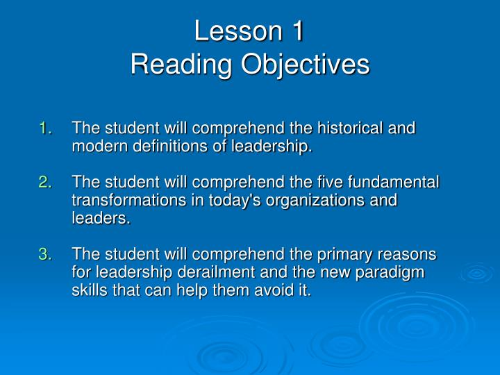 Lesson 1 reading objectives