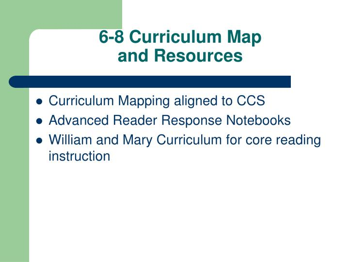 6-8 Curriculum Map
