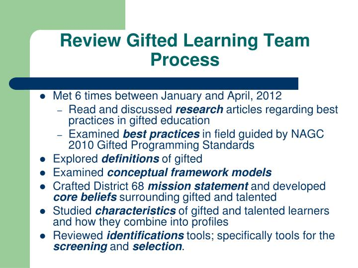Review Gifted Learning Team Process