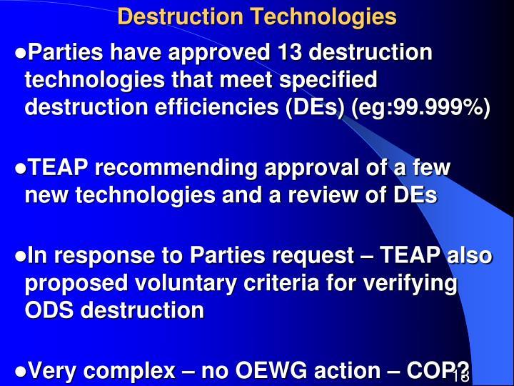 Destruction Technologies