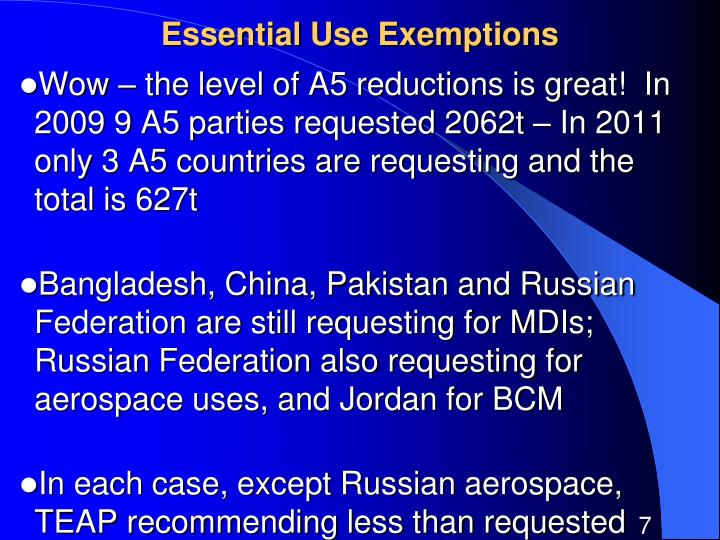 Essential Use Exemptions