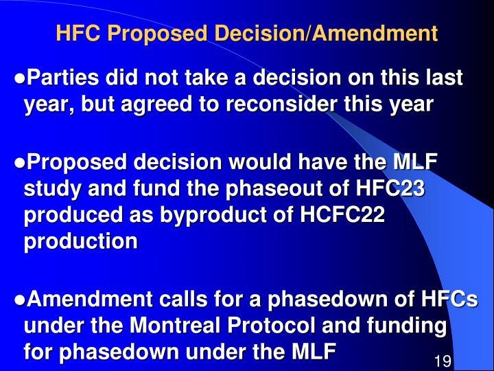 HFC Proposed Decision/Amendment