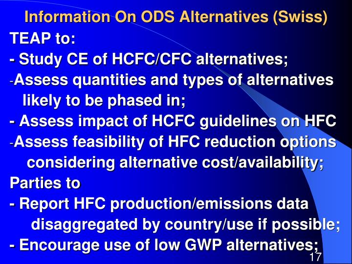 Information On ODS Alternatives (Swiss)