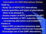 information on ods alternatives swiss