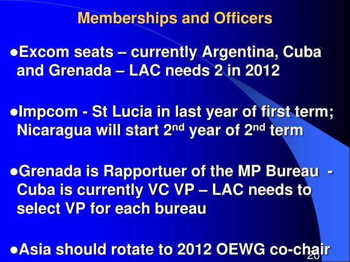Memberships and Officers
