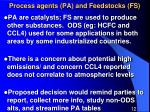 process agents pa and feedstocks fs