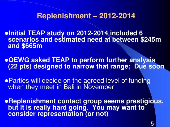 Replenishment – 2012-2014