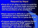 request by nepal