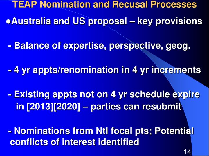 TEAP Nomination and Recusal Processes
