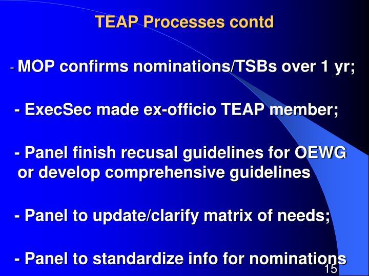 TEAP Processes contd