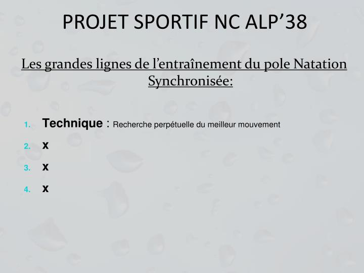 PROJET SPORTIF NC ALP'38