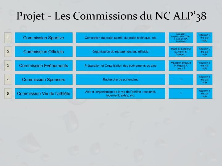 Projet - Les Commissions du NC ALP'38