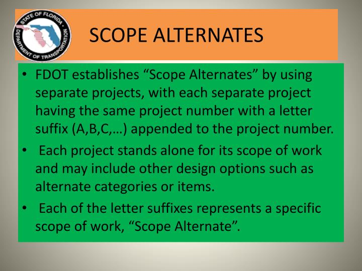SCOPE ALTERNATES