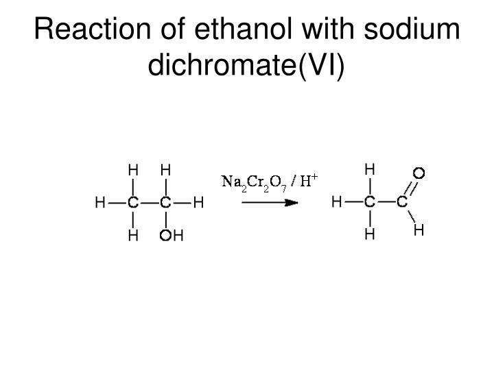 Reaction of ethanol with sodium dichromate(VI)