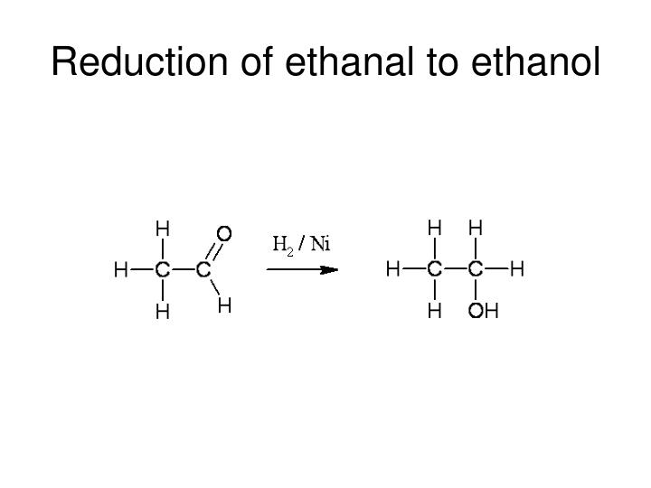 Reduction of ethanal to ethanol