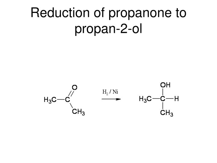 Reduction of propanone to propan-2-ol