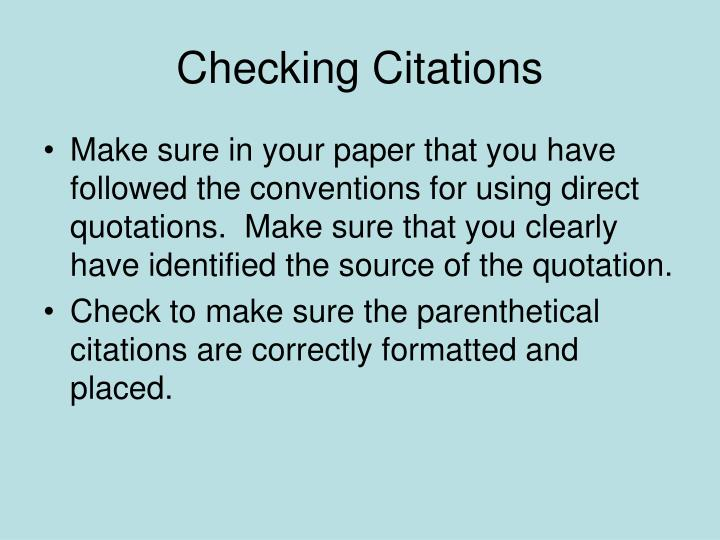 Checking Citations