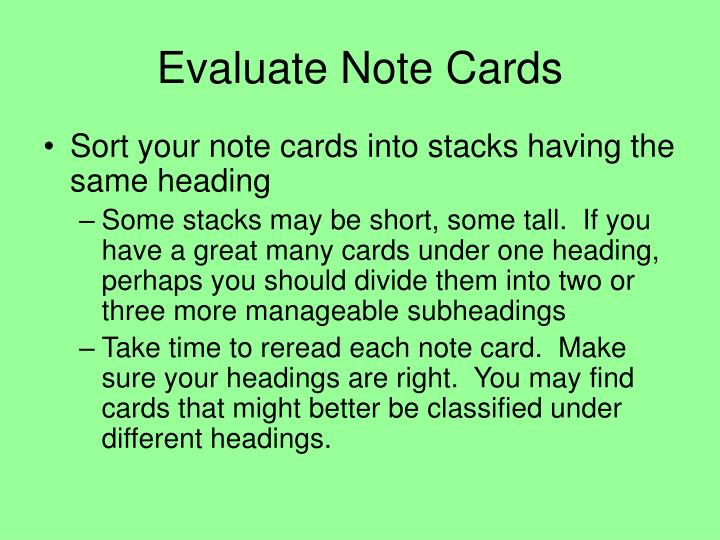 Evaluate Note Cards