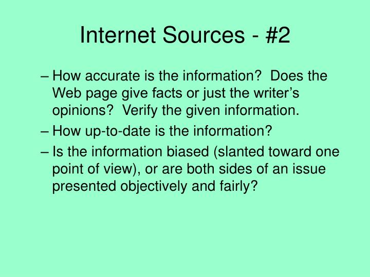 Internet Sources - #2