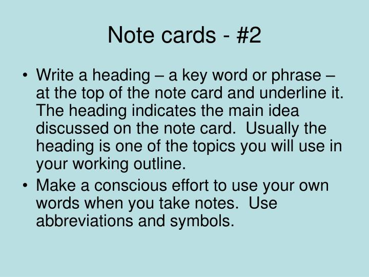 Note cards - #2