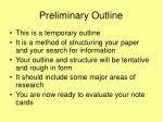 preliminary outline