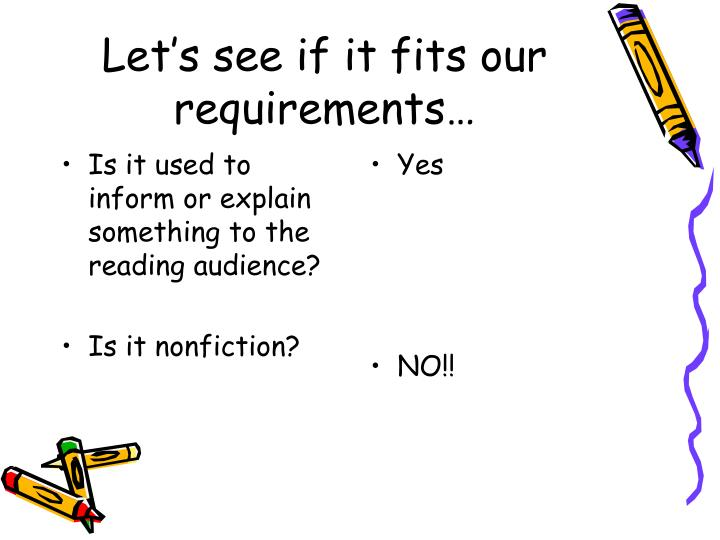 Is it used to inform or explain something to the reading audience?