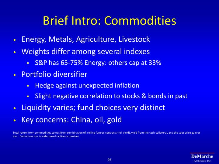 Brief Intro: Commodities