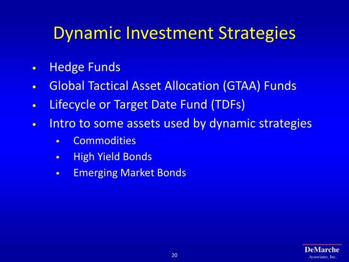 Dynamic Investment Strategies